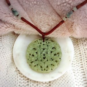 Jewelry - Large Carved Stone Pendant Necklace
